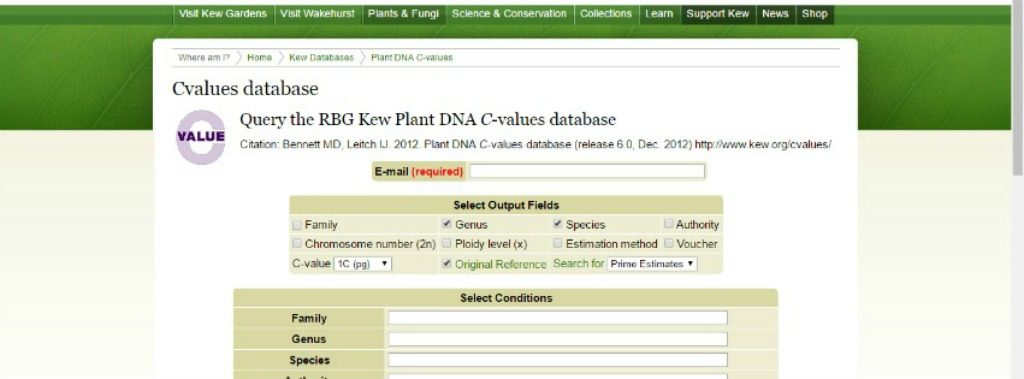 Plant DNA C-Values database