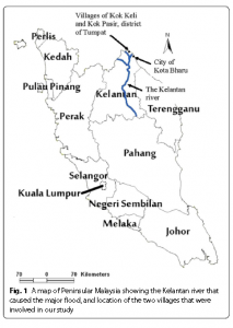 A map of Peninsular Malaysia showing the Kelatan River that caused the major flood and location of Ikok Keli and Kok Pasir